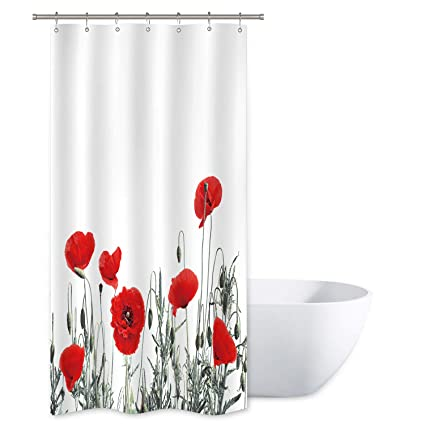 Riyidecor Poppy Shower Curtain Red Floral Buds Watercolor Flowers Blooming Decor Fabric Bathroom Set 36x72 Inch