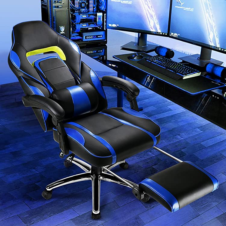 LANGRIA Computer Gaming Chair Faux Leather Racing Style Executive Office Chair Ergonomic High Back Design With Padded Footrest Lumbar Support