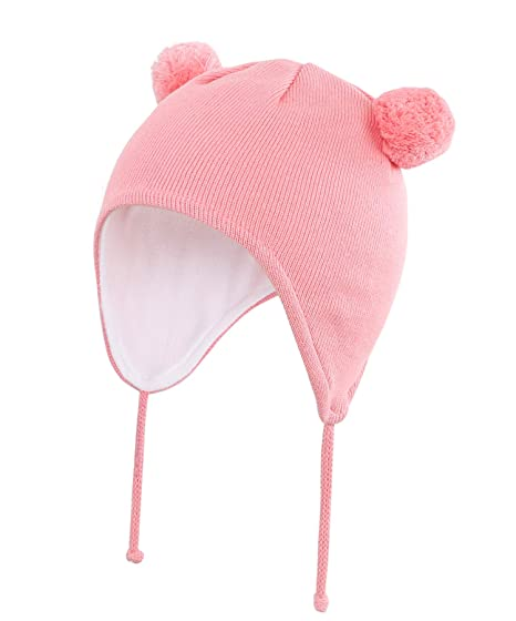 6f2bac2bf39 Home Prefer Infant Baby Girls Winter Beanie Hat with Earflaps Soft Cotton Knit  Caps with Lining