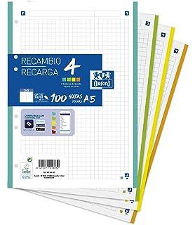 Hojas cuadriculadas A4 Recambio Oxford. Banda 5 colores. 100 Hojas. Cuadrícula 5x5.: Amazon.es: Oficina y papelería