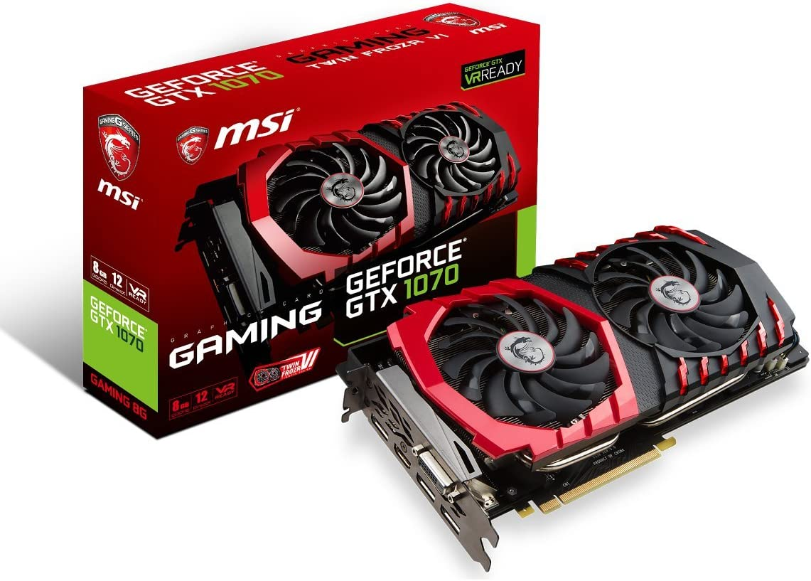 MSI Gaming GeForce GTX 1070 8GB GDDR5 SLI DirectX 12 VR Ready Graphics Card (GeForce GTX 1070 Gaming 8G)