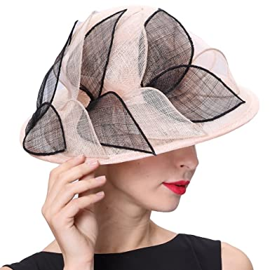 f89f90cd9ee Image Unavailable. Image not available for. Colour  June s Young Women Hats  3 Layers Sinamay Wedding Hats Champagne Black Sun Hat Saratoga Race Course