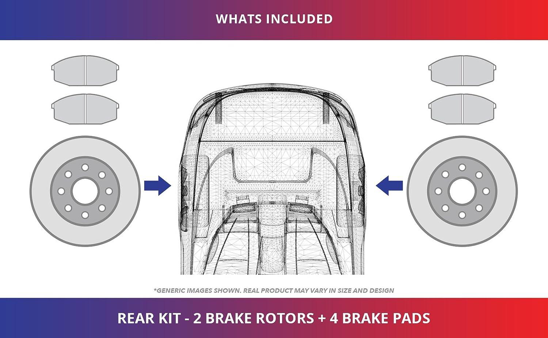High-End Rear Kit Fits:- 5lug 2 Black Coated Cross-Drilled Disc Brake Rotors 4 Ceramic Pads