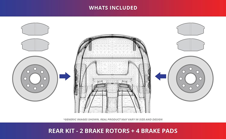 Rear Kit Heavy Tough-Series 4 Ceramic Pads 2 Black Coated Cross-Drilled Disc Brake Rotors Fits:- 5lug