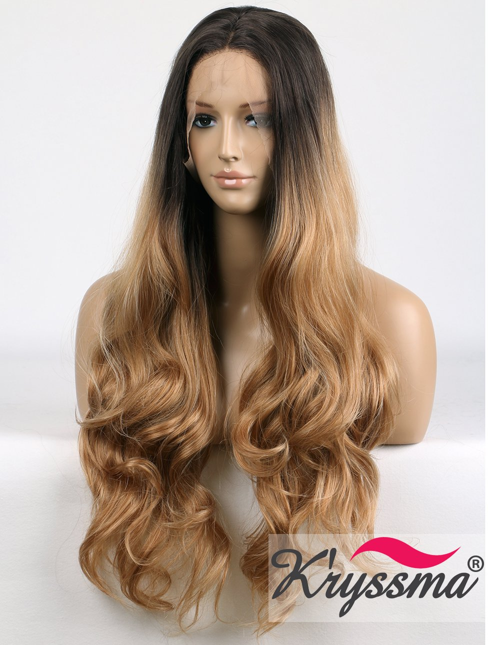 Vnice Honey Blonde Loose Wave Wig Middle Part Synthetic Lace Front Wig Medium Length Heat Resistant Fiber Hair For Women Synthetic Lace Wigs Hair Extensions & Wigs