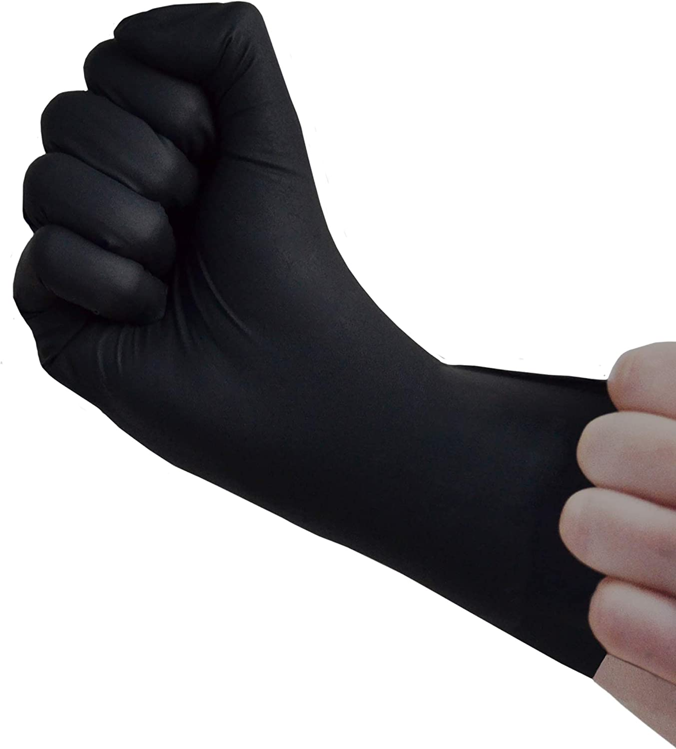 Colour: Black Hevea Size: M Powder- and latex-free Ultra-thick disposable nitrile gloves Pack of 2 boxes with 100 gloves each Medium