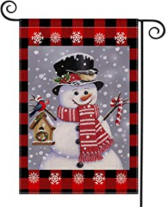 WEOUGR Burlap Welcome Garden Flag with Snowman for Christmas Decorations, Double Sided Flags with Snowflakes Animal for House Yard Winter Party Decor, Season Home Outdoor Flag Garden 18.5 x 12.5 Inch