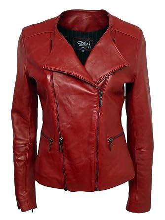 Dks Blouson Cuir Femme Made in France Lyo007 rouge Couleur