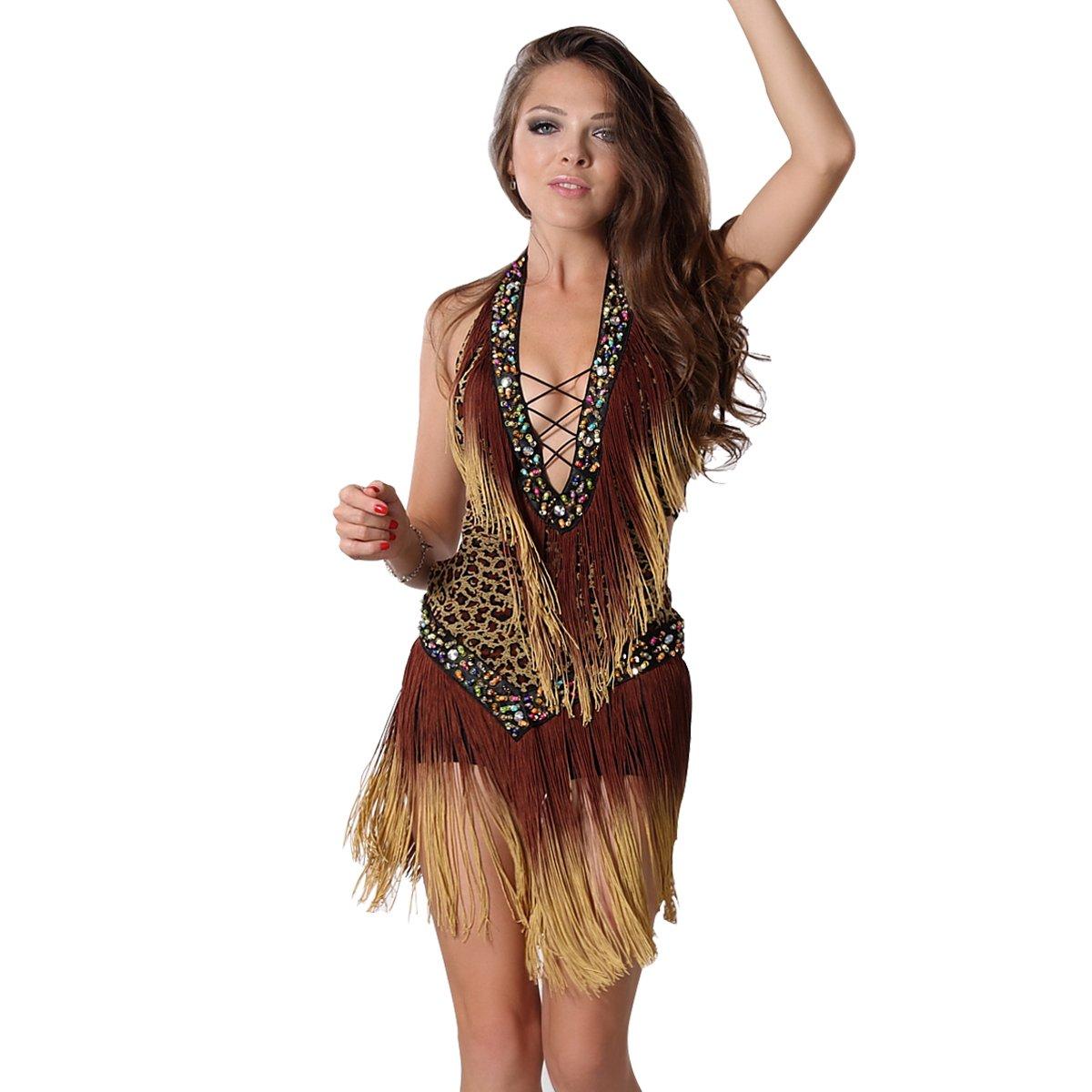 f0eb878ef7 MISI CHAO Latin Dance Dresses - Fringe Ballroom Dance Skirt Lyrical Tassel  Sequin Dress for Women