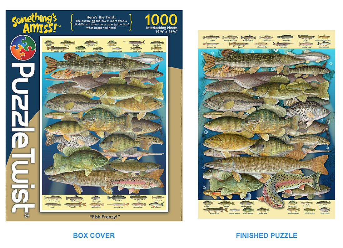 Freshwater fish jigsaw puzzles - Amazon Com Something S Amiss 1 000 Piece Jigsaw Puzzle Fish Frenzy Toys Games