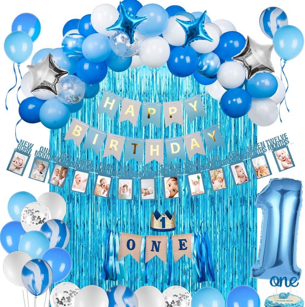 JOYYPOP 1st Birthday Boy Decorations 66PCS Blue 1st Birthday Decorations for Boy with 12 Months Photo Banner, 1st Birthday Baby Crown, ONE Cake Topper, 1st Birthday Highchair Banner