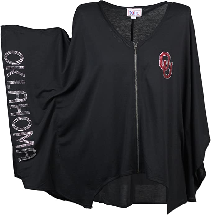 Nitro USA NCAA Womens Slit Back Hi Lo Top with Rhinestone OU /& Oklahoma Girl