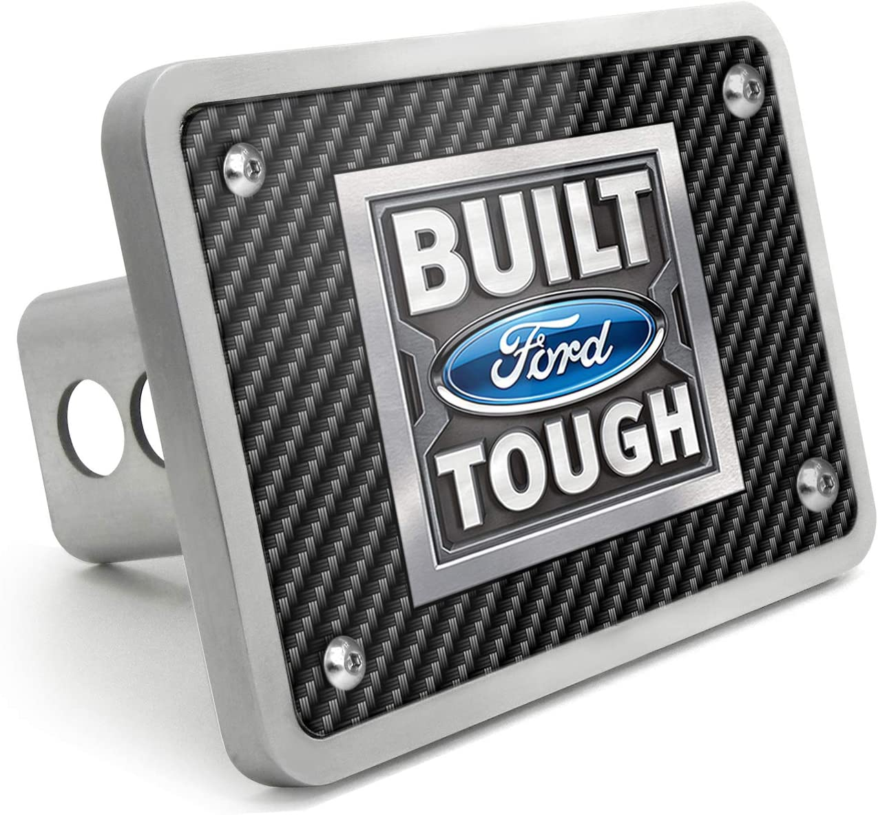 Super-Duty and SUV iPick Image Ford Built Ford Tough UV Graphic Brushed Silver Billet Aluminum 2 inch Tow Hitch Cover for F-150 Made in USA