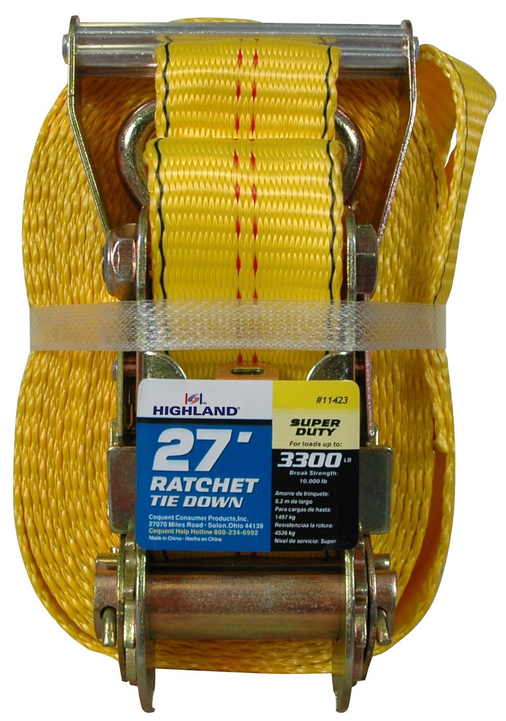 Highland 1 piece 27 Yellow Super Duty Ratchet Tie Down with Double J-Hooks 1142300