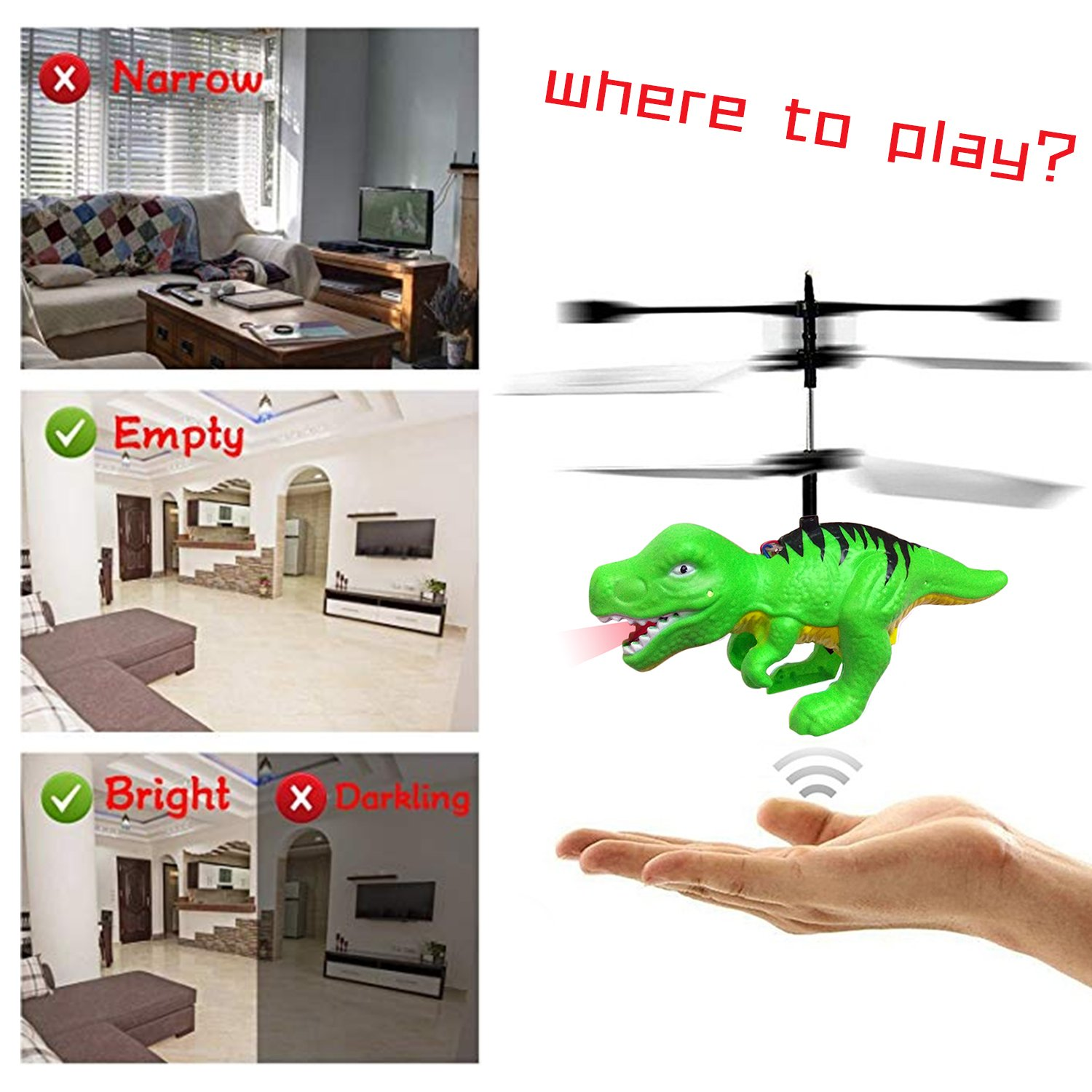 RC Mini Flying Helicopter Dinosaur Toy Gift for 6 Year Old Boys Kids ...