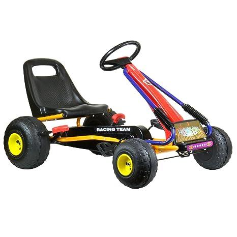 bopster® Coche de pedales para niños con ruedas de plástico y nuevo freno de mano