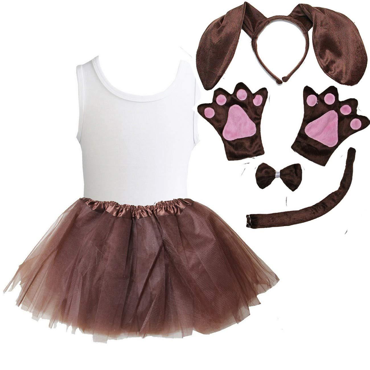 Kirei Sui Kids Animal Costume Ears Headband Bowtie Tail Tutu Paws Tee 7pcs Set