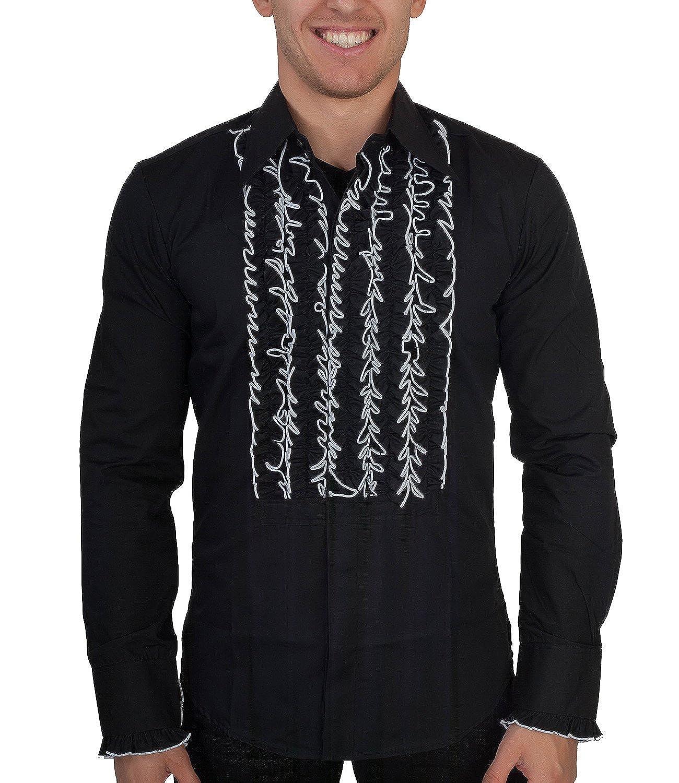 Chenaski 70er Jahre Hemd Schwarz mit Weißen Rüschen