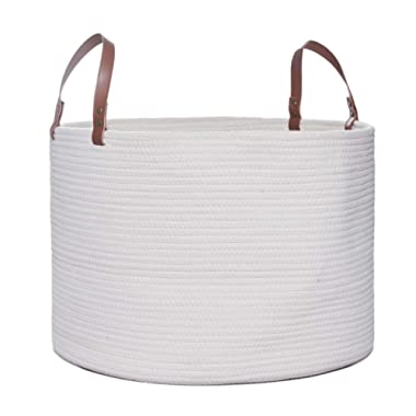 Large Cotton Rope Basket, 20  x 14  Laundry Blanket Storage Basket with Leather Handles, Baby Nursery Bin for Home Decor and Organizing