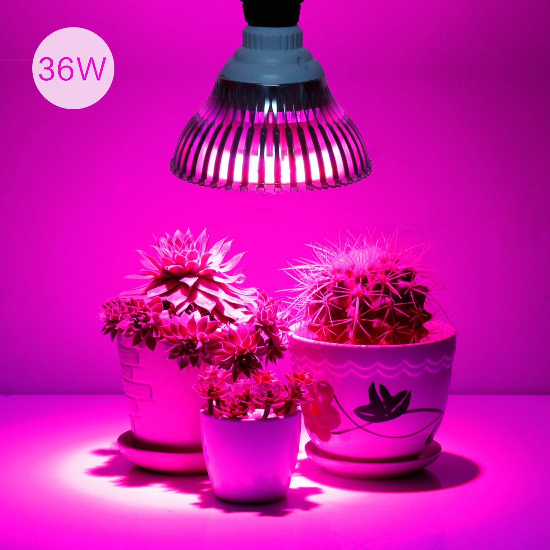 36W LED Grow Light Bulb, Levin Plant Light Bulb E26 Bulbs Input 85~265V for Indoor Garden Greenhouse and Hydroponic Plants Full Spectrum