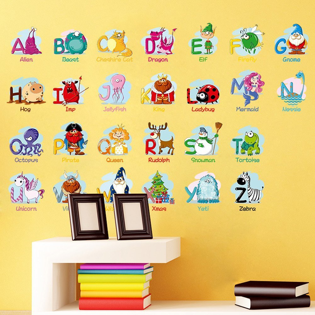 Amazon.com: Alphabet Animals ABC Wall Decals Peel and Stick Easily ...