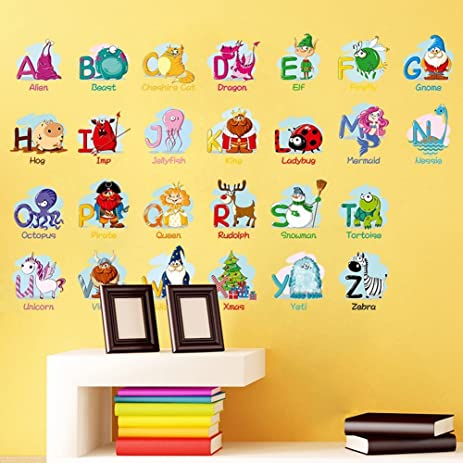 Amazon.com: Alphabet Animals ABC Wall Decals Peel and Stick Easily ...