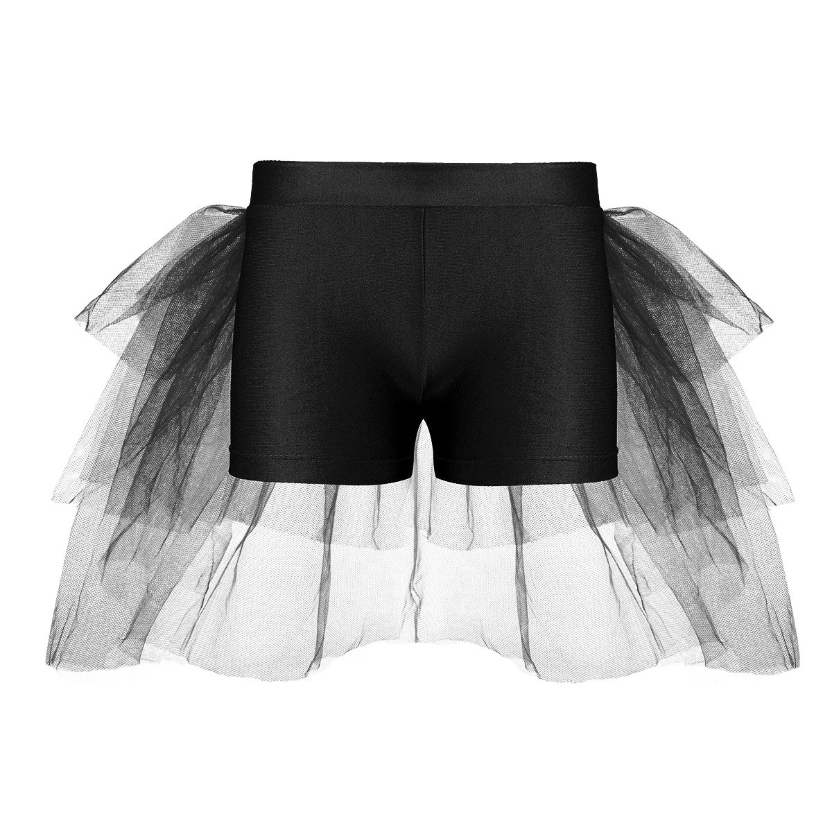 Agoky Kids Girls Shorts Bottoms with Attached Bustle Tiered Mesh for Ballet Dance Stage Performance Black 3-4