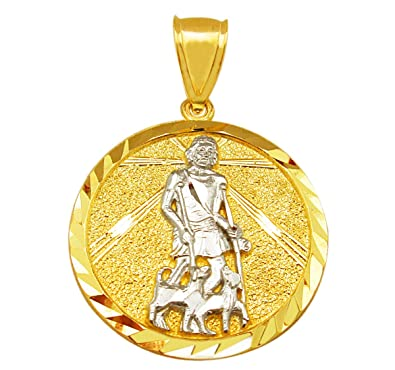 3fb9cf16d63 AMZ Jewelry Mens 10K Yellow Gold St. Lazarus Pendant Medallion Saint Lazarus  Patron | Amazon.com