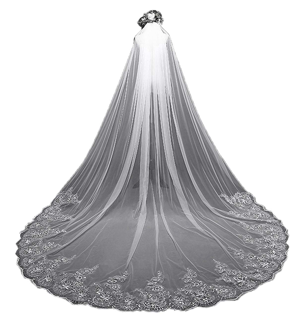 Aibiyi Vintage Long Veil Sequins Lace (300Cm) Cathedral Bridal, Ivory, Size Free by AIBIYI