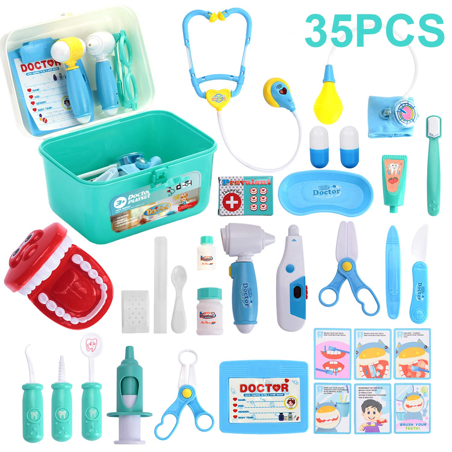 Kids Toys Doctor Kit with 35 Pieces Dentist's Equipment, Durable Medical Kit Pretend Holiday/Birthday Gift for Kids, Packed in a Sturdy Gift Case by Semaco