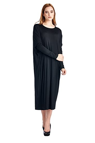 82 Days Women'S Rayon Span Long Sleeves Butterfly Fit Jersey Dress - Black M