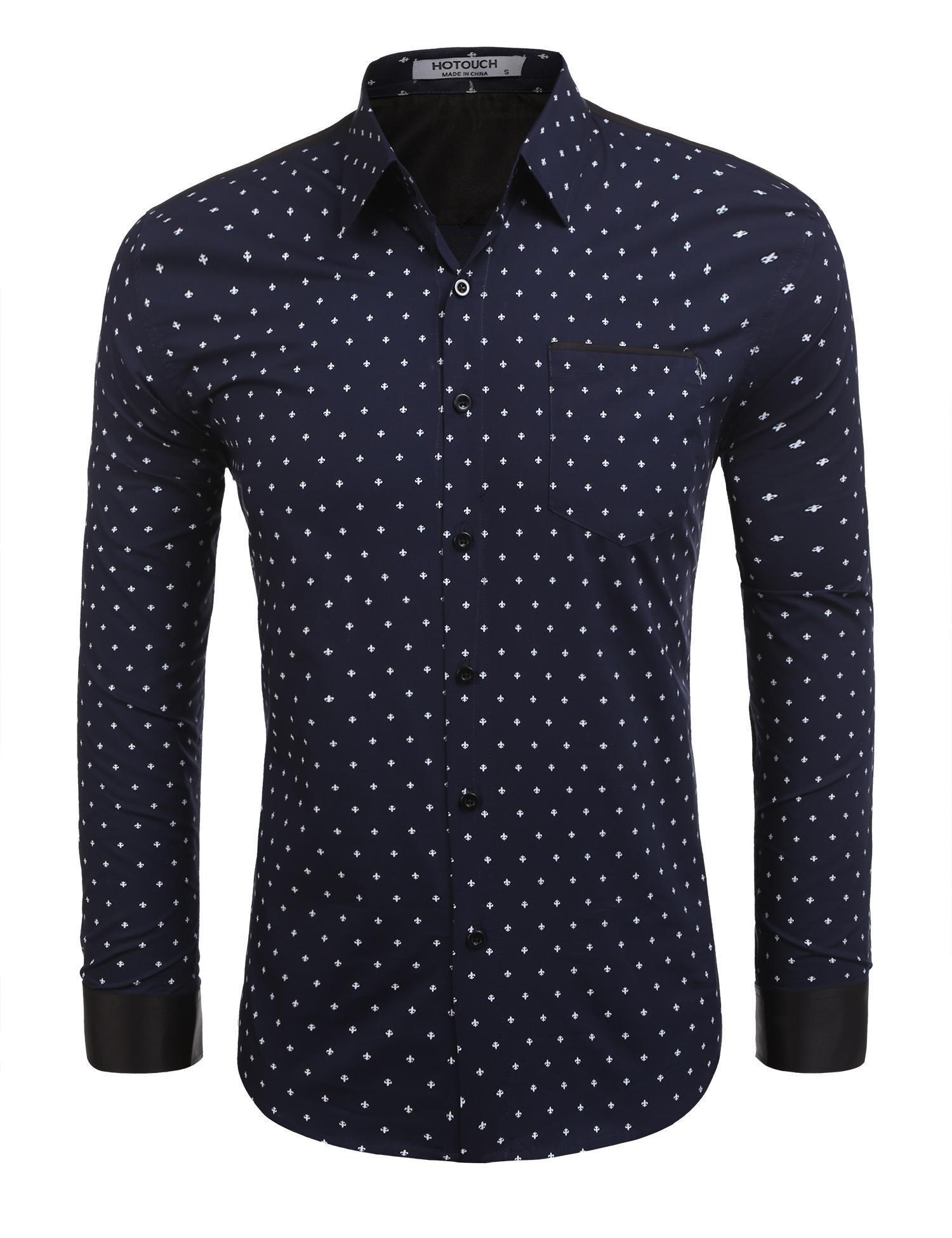 HOTOUCH Men's Summer Printed Dress Long Sleeve Shirts With Pocket,Navy Blue,Medium