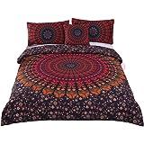 Sleepwish 4 Pcs Mandala Hippie Concealed Bedspread Bohemian Bedding Duvet Cover Set Full Size