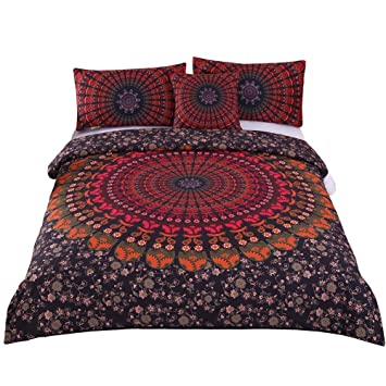 Sleepwish 4 Pcs Mandala Hippie Concealed Bedspread Bohemian Bedding Duvet  Cover Set Cal King Size
