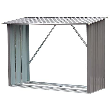"""Outsunny - Estante de Almacenamiento para cobertizo de leña (Acero Resistente, 85,5"""""""