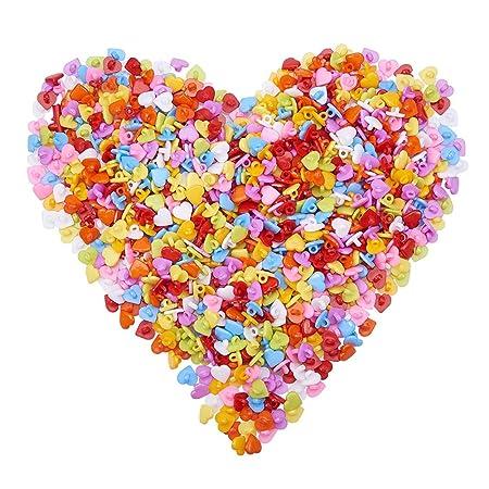 NBEADS 1000 pcs acrílico 12 mm vástago Lovely corazón Botones para ...