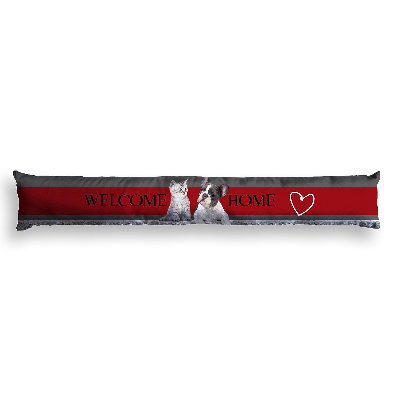 Nappes du Monde - Paraspifferi stampato per porta, motivoWelcome Home, in poliestere, 85x 15cm, colore: Rosso 3001728