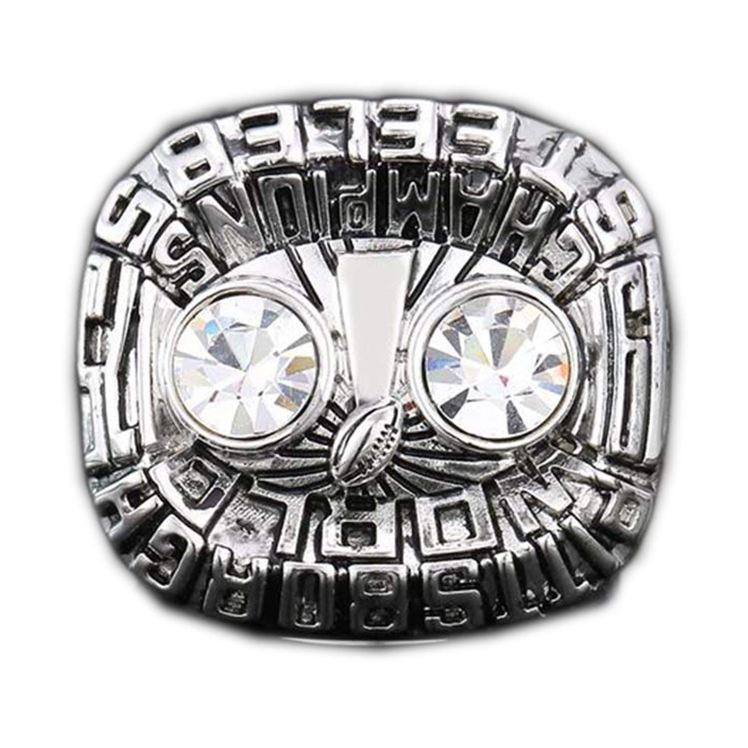 Silver Gloral HIF 1975 Pittsburgh Steelers Super Bowl Championship Ring Collectible for Gifts Size 11 Without Box