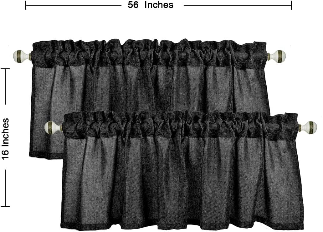 Essencea 100/% Faux Linen Curtain Valance Window Decor for Kitchen Bedroom with Rod Pocket Living Room 56 x 16 Inch, Black