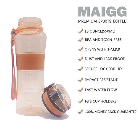 bf0d64aeca MAIGG Premium Sports Water Bottle-18oz - Eco Friendly & BPA-Free Plastic -