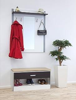 Trendteam Smart Living Garderoben Set 3 Teilig Schwarz Weiss 110