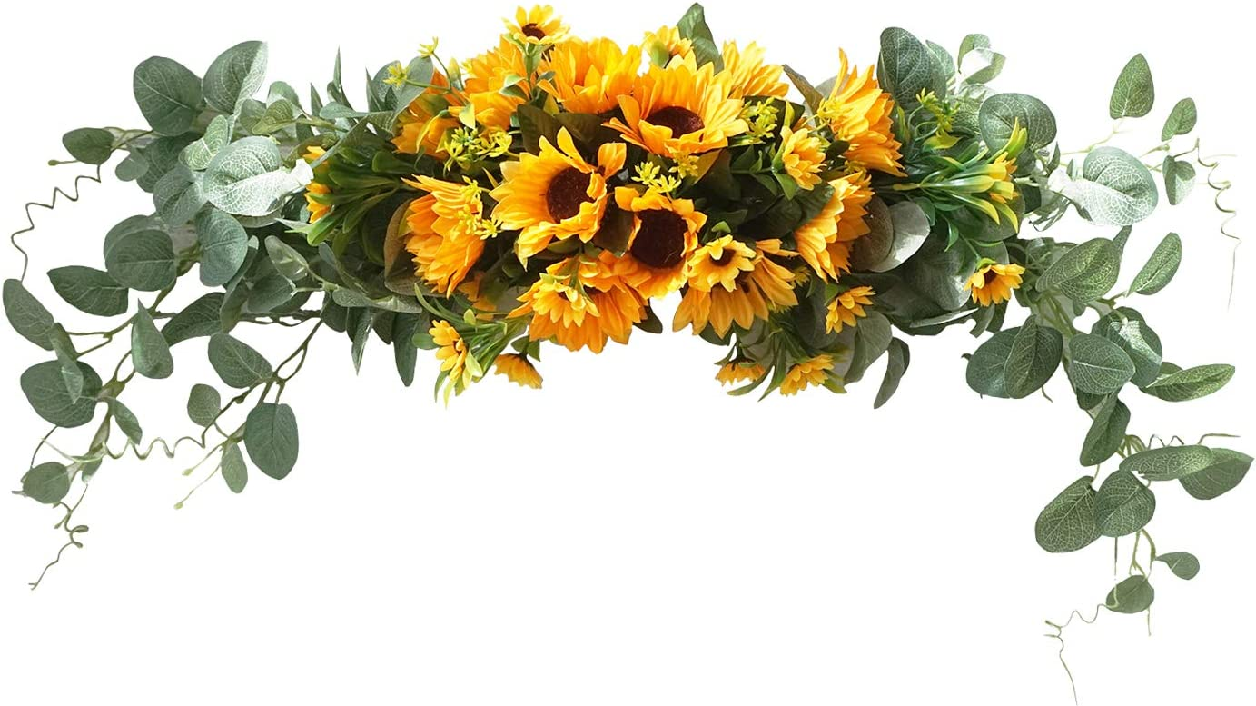 U'Artlines Floral Swag Artificial Flowers Sunflower Eucalyptus Wreath Handmade Garland for Mirror Home Wedding Party Door Lintel Decoration