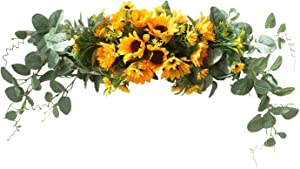 U'Artlines Sunflower Swag Wreath Hanging Autumn Front Door Garland for Home Party Window Wall Decoration (31'' Swag)