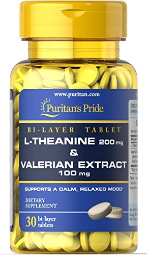 Puritan s Pride L-Theanine 200 mg Valerian Extract 100 mg-30 Tablets