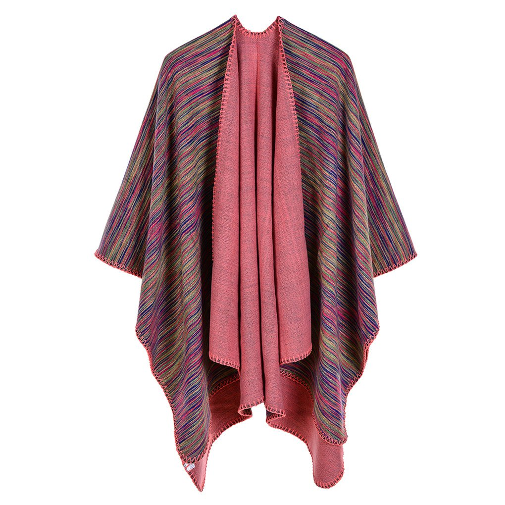 Leoparts Women Elegant Gray Cardigan Poncho Cape Cloak Shawl Sweater Coat