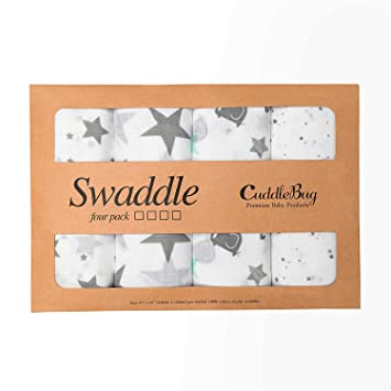 Amazon Com Muslin Baby Swaddle Blankets Starry Nights 4 Pack