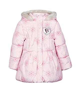 dd29f2cc3 Disney Girls Frozen Elsa Pink Hooded Padded Winter Coat Jacket Age 6 ...