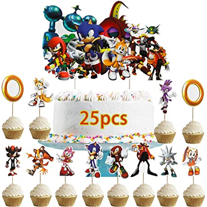 Dawei 25 Pcs Sonic The Hedgehog Cupcake Toppers Sonic The Hedgehog Happy Birthday Party Supplies Cake Topper For Party Supplies 1 Count Big Cake Topper 24 Count Cupcake Toppers Amazon Com Grocery