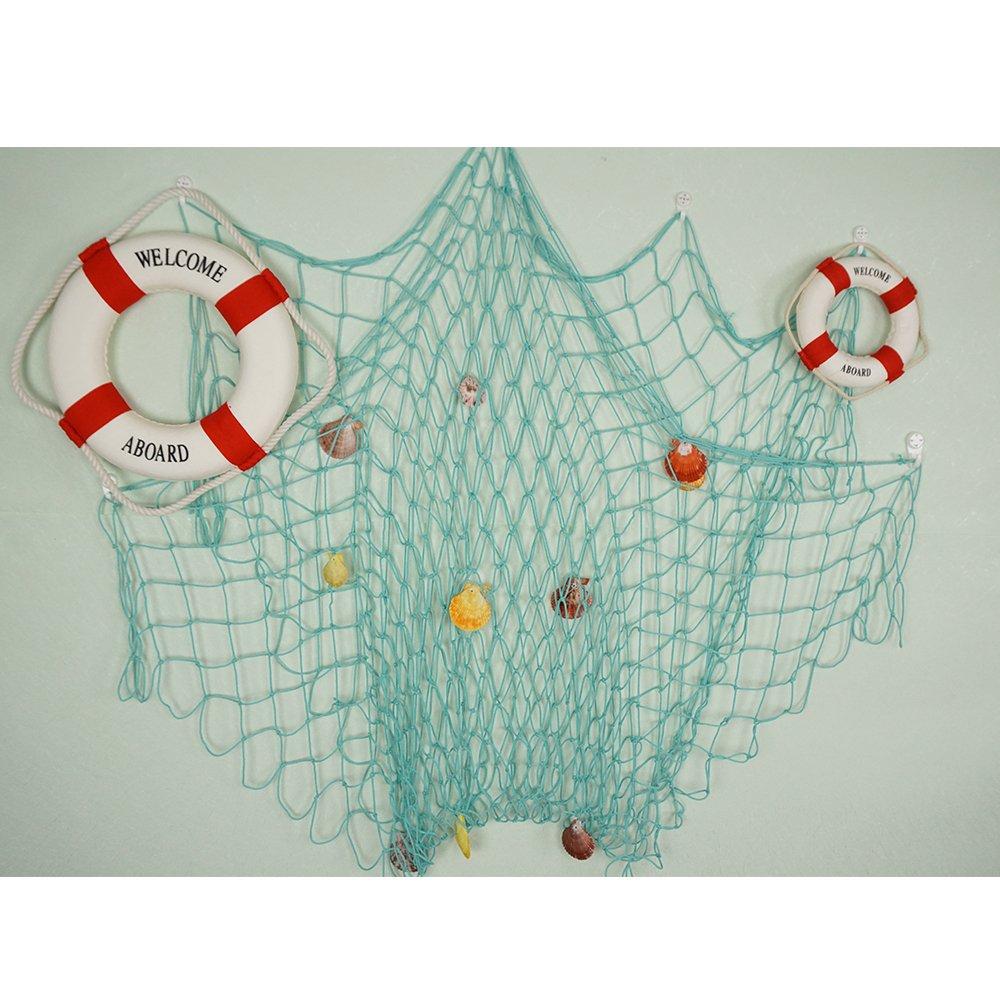 Bilipala Rustic Decorative Fishing Net Wall Decor with Seashells, Nautical Style Wall Hangings Ornaments, Aqua