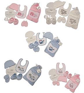 939ea4879680 PC 4 pièces pour bébé fille bébé garçon Ensemble cadeau, bavoir, gants,  chapeau